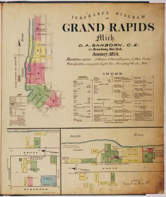 Title page and sheet one of the 1874 Sanborn Fire Insurance map for Grand Rapids, Michigan