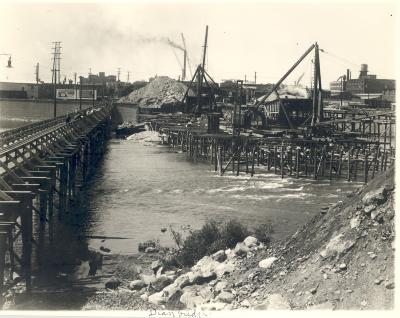 Fulton Street Bridge construction.
