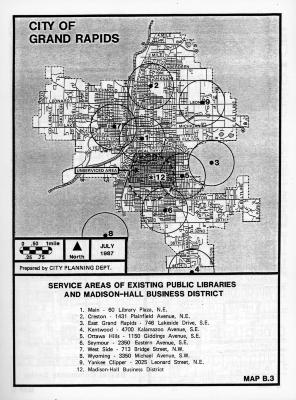 Service Areas of Existing Public Libraries and Madison-Hall Business District