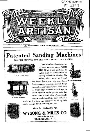 Weekly Artisan, October 30, 1909