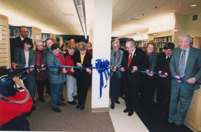 Ribbon cutting for Van Belkum Branch Library (interior)