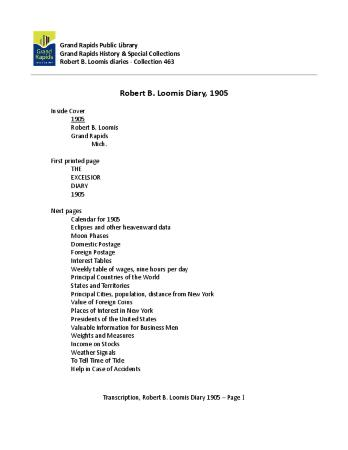 Transcription of Robert Loomis Diary, 1905