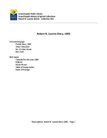 Transcription of Robert Loomis Diary, 1865