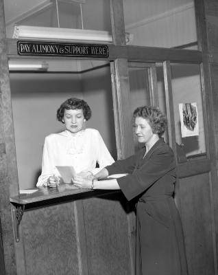 Alimony court, two girls in office