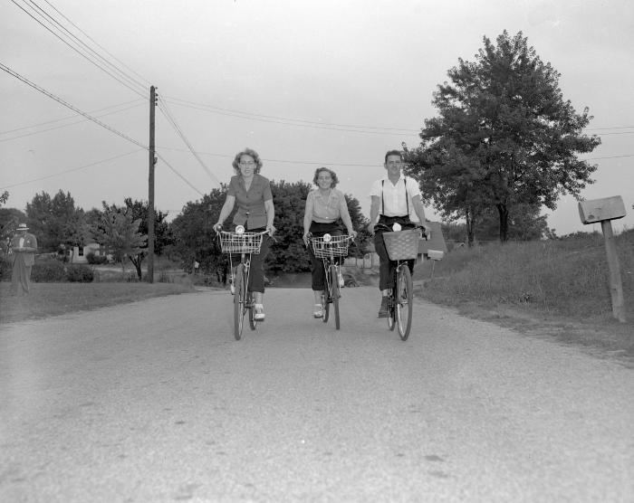 American Youth Hostel, three on bikes