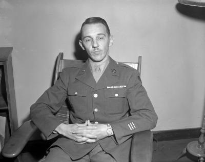 Anderson, soldier at studio