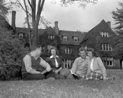Aquinas and Calvin Colleges, students in front of administration buildings