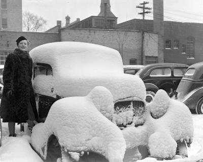 Automobile Covered with Snow
