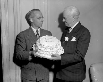 Baker, with cake
