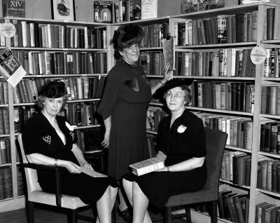 Baraga Library, three women
