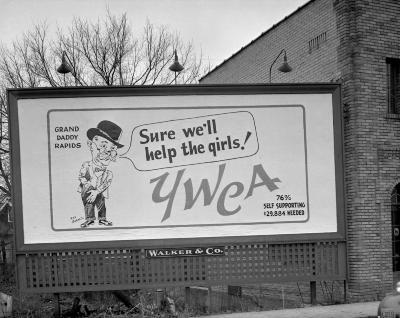 Barnes, Ray, YWCA campaign sign