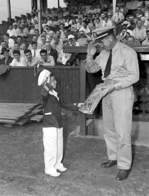 Mickey Cochrane and boy at Bigelow Field