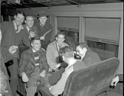 Draftees, on train