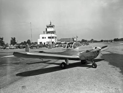 Early airplane at Kent County Airport
