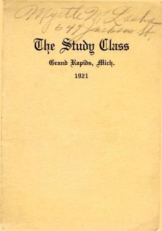Grand Rapids Study Club Yearbook for 1921