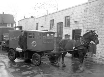 Horse-drawn delivery wagon