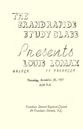 Mr. Louis Lomax Lecture