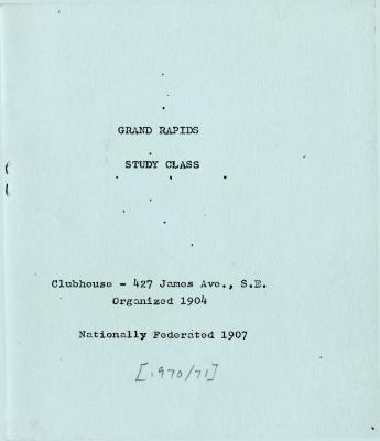 Grand Rapids Study Club Yearbook for 1970-1971