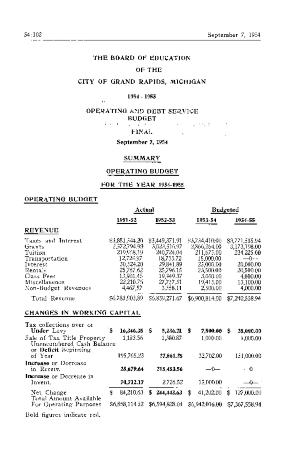 Budget for Grand Rapids Public Schools, 1954-1955
