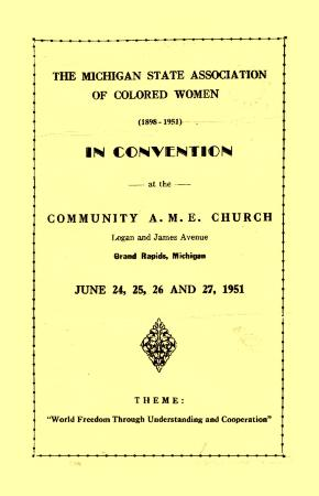 The Michigan State Association of Colored Women Convention Program