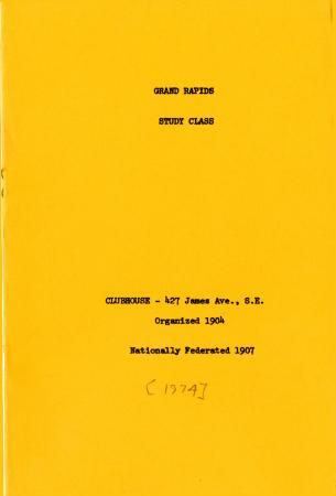 Grand Rapids Study Club Yearbook for 1974-1975