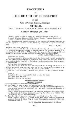 Budget for Grand Rapids Public Schools, 1944-1945