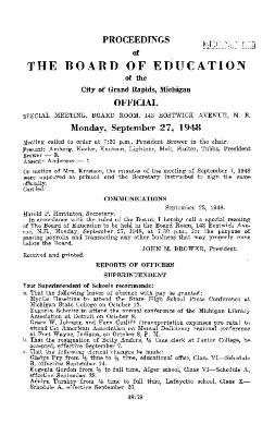 Budget for Grand Rapids Public Schools, 1948-1949