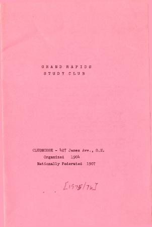 Grand Rapids Study Club Yearbook for 1975-1976