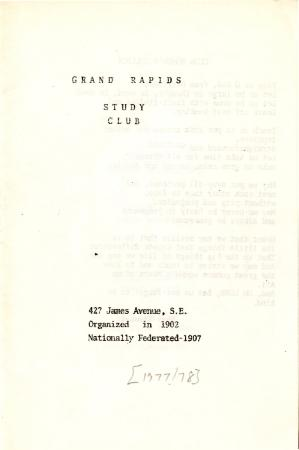Grand Rapids Study Club Yearbook for 1977-1978